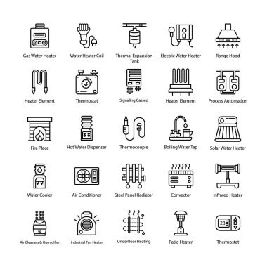 Heating System Line Vector Icons clip art vector