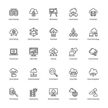 Cloud Computing Glyph Icons Set