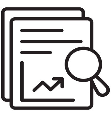 Line graph embedded on paper sheet with magnifier presenting data analysis icon