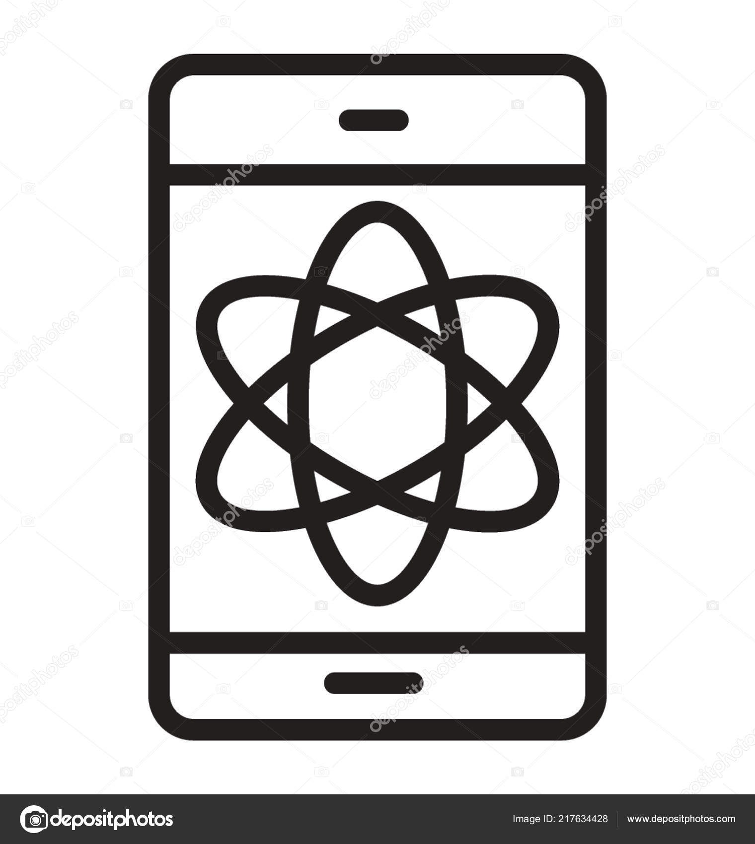 Atomic Sign Embedded Mobile Screen Icon Data Science — Stock Vector