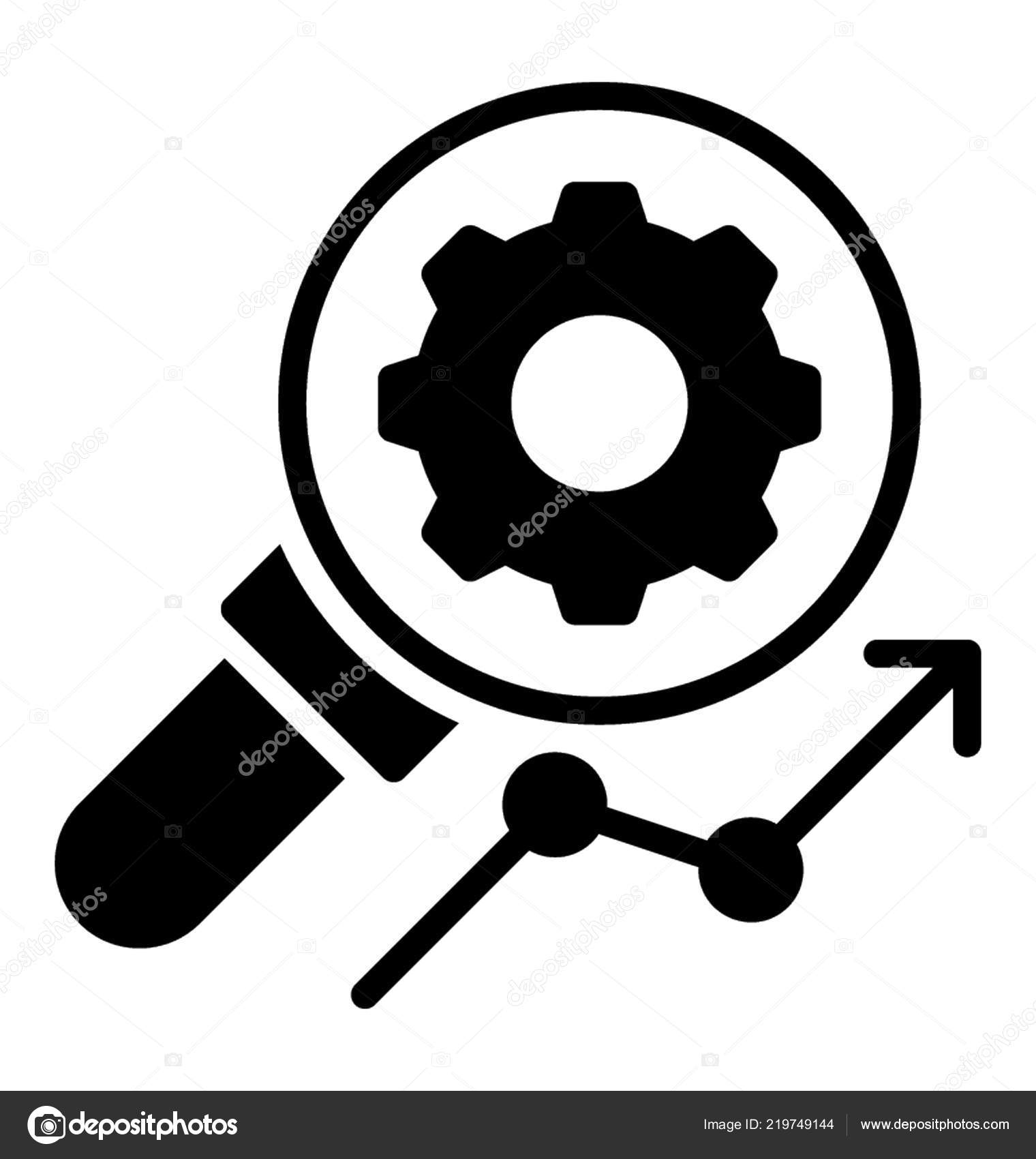 Magnifying Glass Gear Showing Icon Search Engine — Stock
