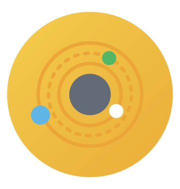 Flat rounded vector icon of orbit.