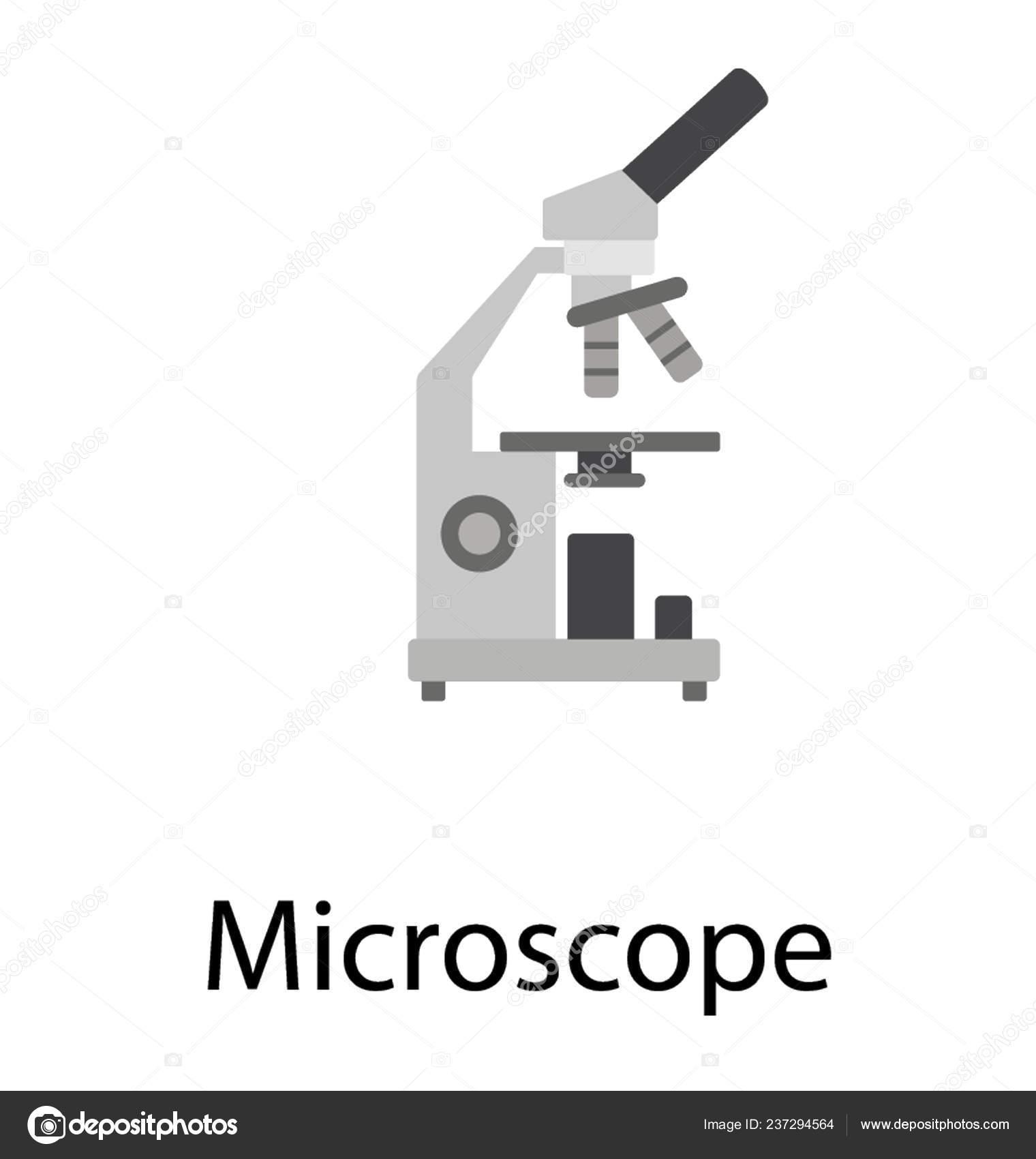 Flat Design Microscope Icon Lab Research — Stock Vector