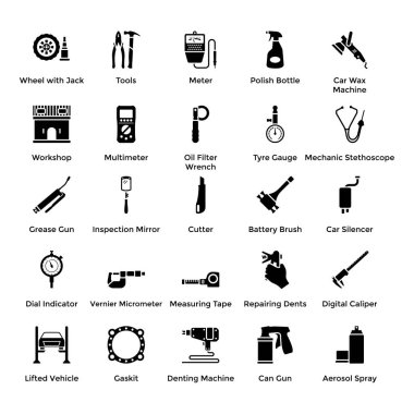 Automobile Parts and Repair Car Services solid Icons Pack