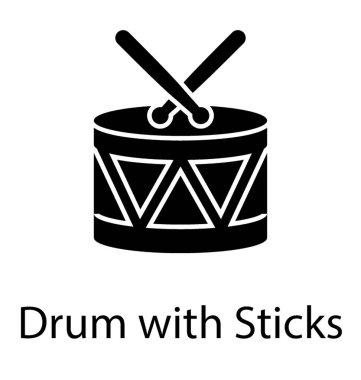 Drum with sticks, glyph vector
