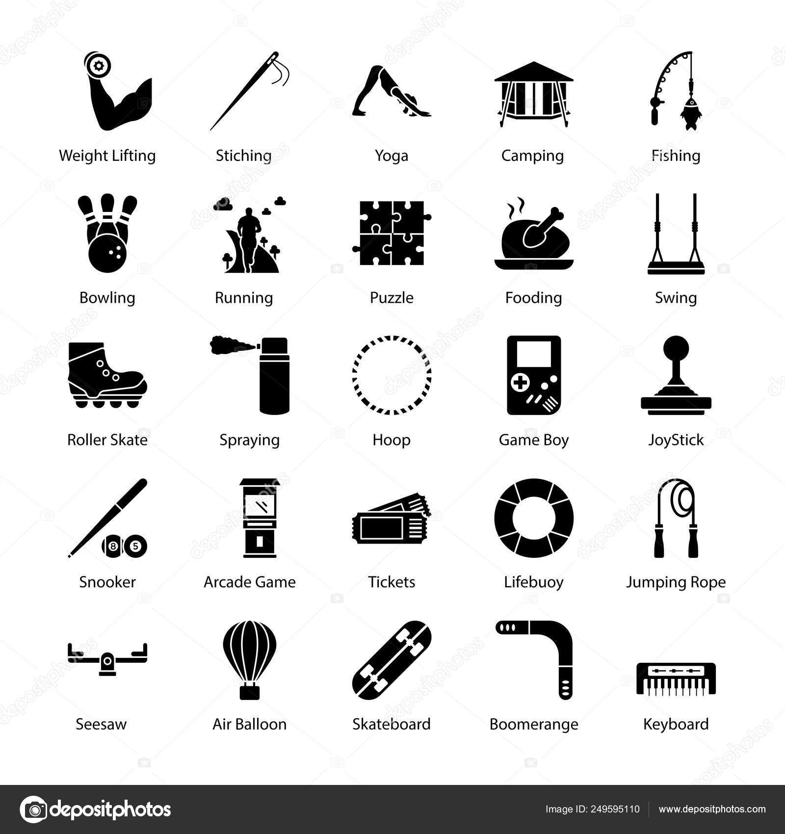 Hobbies Interest Glyph Icons Set Stock Vector C Prosymbols 249595110