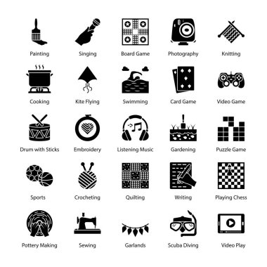 Hobbies and Interest Glyph Icons Pack stock vector