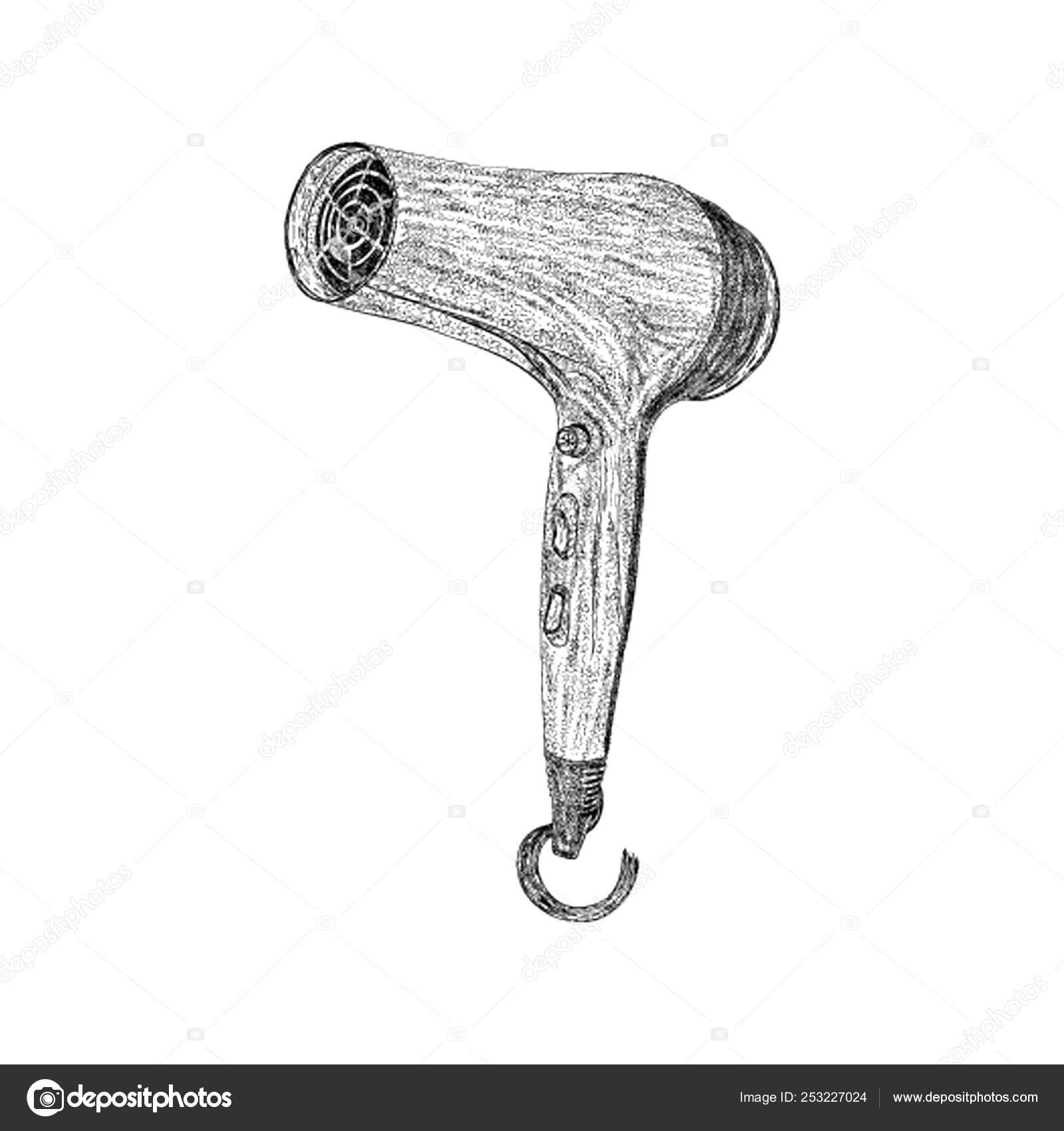 Hair Dryer Illustration Hand Drawn Vector Stock Vector C Prosymbols 253227024