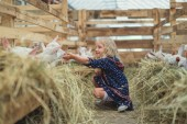 Photo side view of smiling kid sitting on ground in barn and touching goats