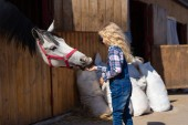 Fotografie side view of kid feeding horse from hand at farm
