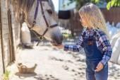 oldalnézetből a gyerek etetése ló Ranch