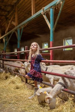 smiling kid leaning on fences in barn and looking up