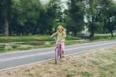 Fotografie malé dítě jedoucí na kole na silnici v parku v letním dni