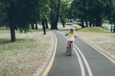 back view of blond child riding bicycle on road in park