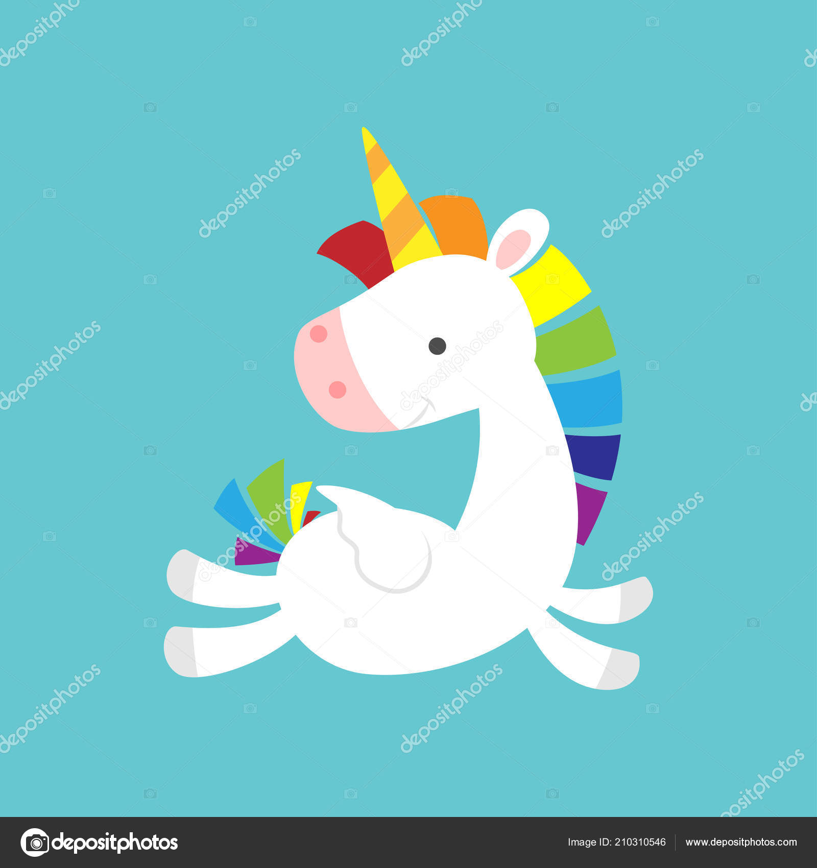 Cute Baby Unicorn Flying And Looking Back Vector By Anura Dsgn