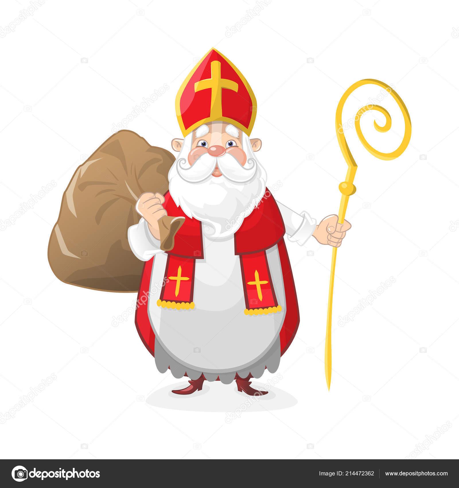 Niedliche Sankt Nikolaus Mit Geschenken Tasche Cartoon Figur