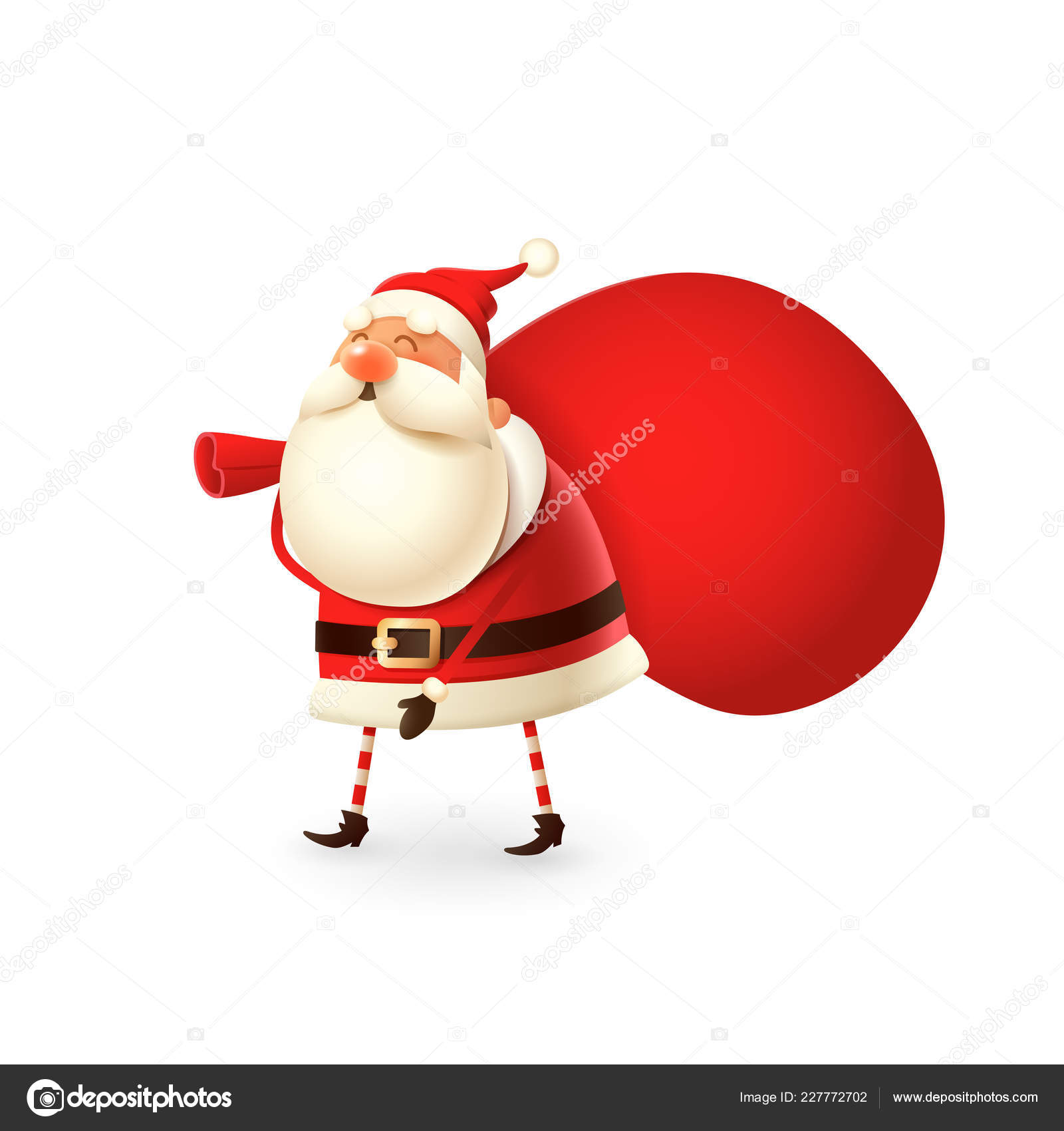 299b19d6c967c Happy Santa Claus walk with gifts bag on his back - isolated on white  background — Vector by ...