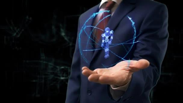 Podnikatel ukazuje koncept hologram 3d kyborg na ruce
