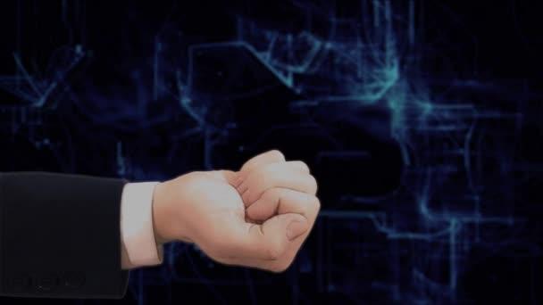 Hand zeigt Konzept Hologramm smart-City an seiner Hand gemalt