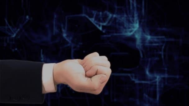 Gemalte Hand zeigt Konzept Hologramm 3d Drone auf seiner Hand