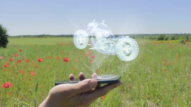Hologram of road bike on a smartphone