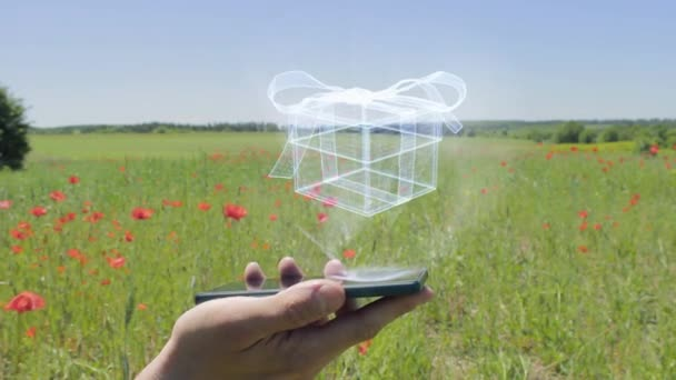 Hologram of gift box on a smartphone