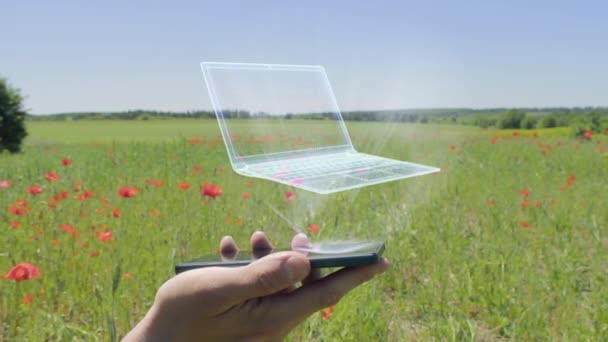 Hologram of laptop on a smartphone
