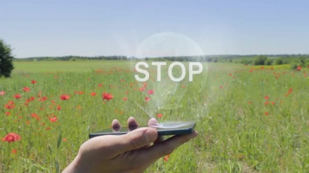 Hologram of Stop on a smartphone