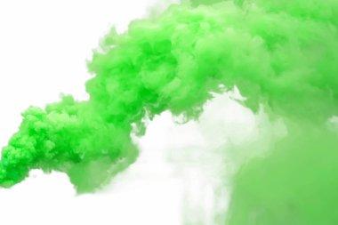 Green smoke, isolated on white background.