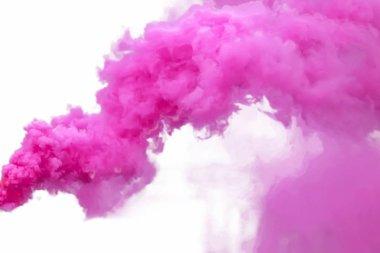 Purple smoke, isolated on white background.