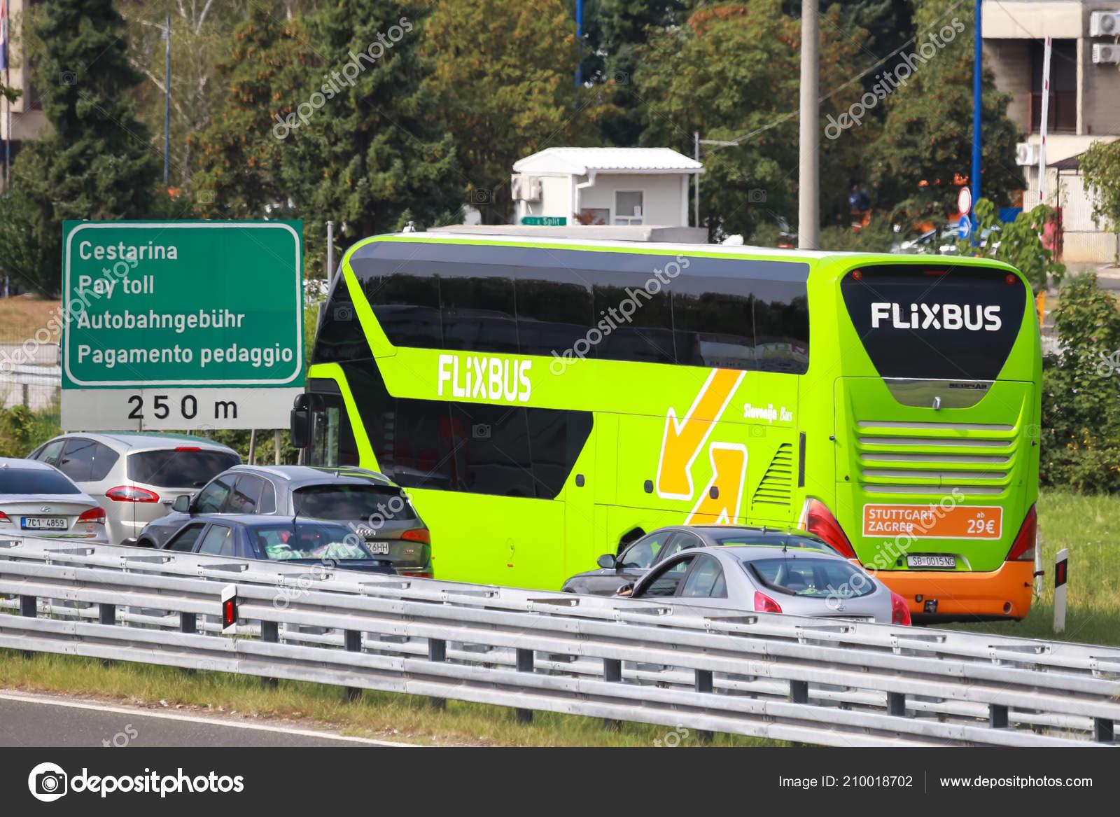 Zagreb Croatia August 11th 2018 Green Bus Flixbus Company Stuck Stock Editorial Photo C Goranjakus 210018702