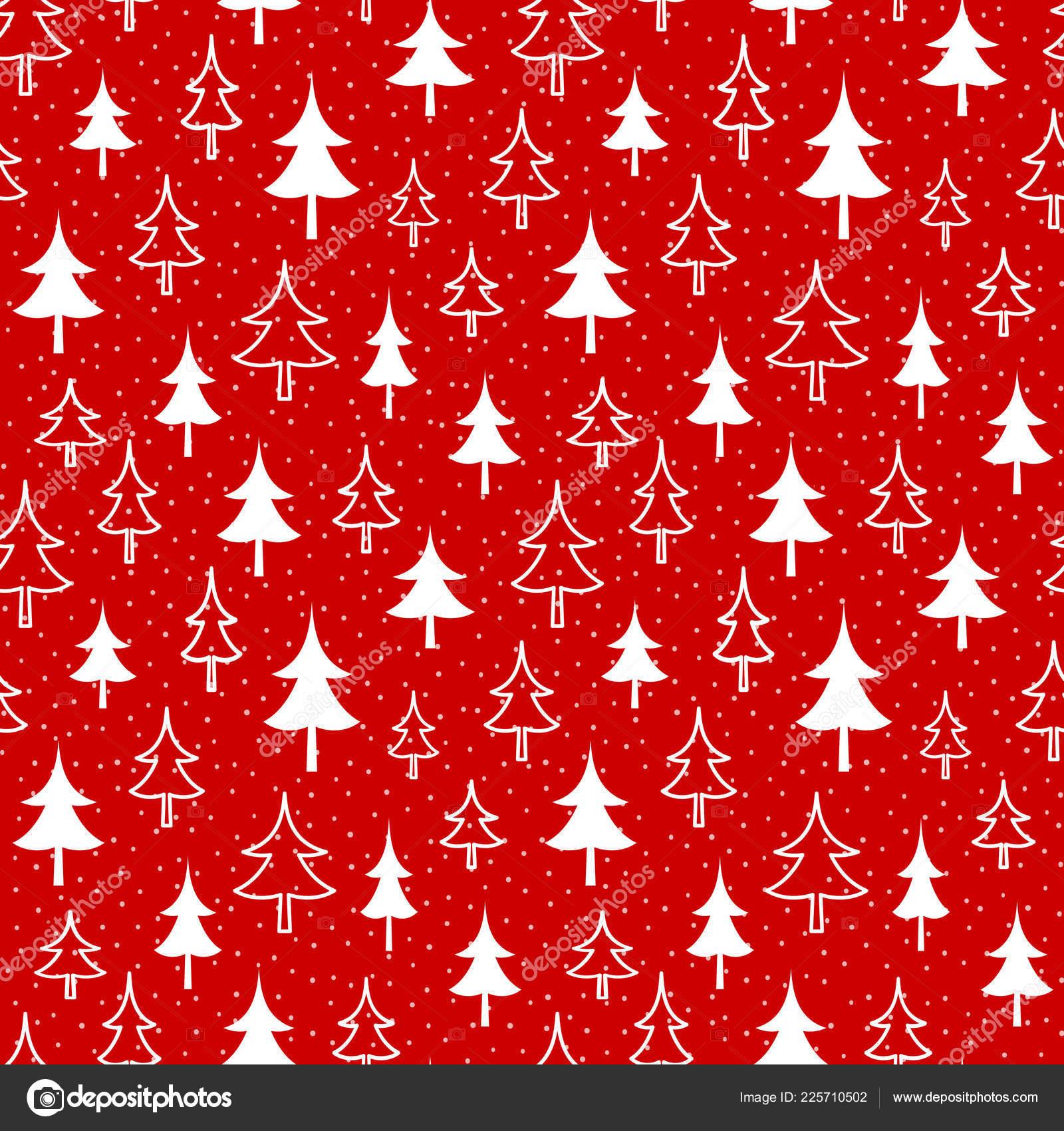 Christmas Seamless Red Pattern White Fir Snow Xmas Endless Texture