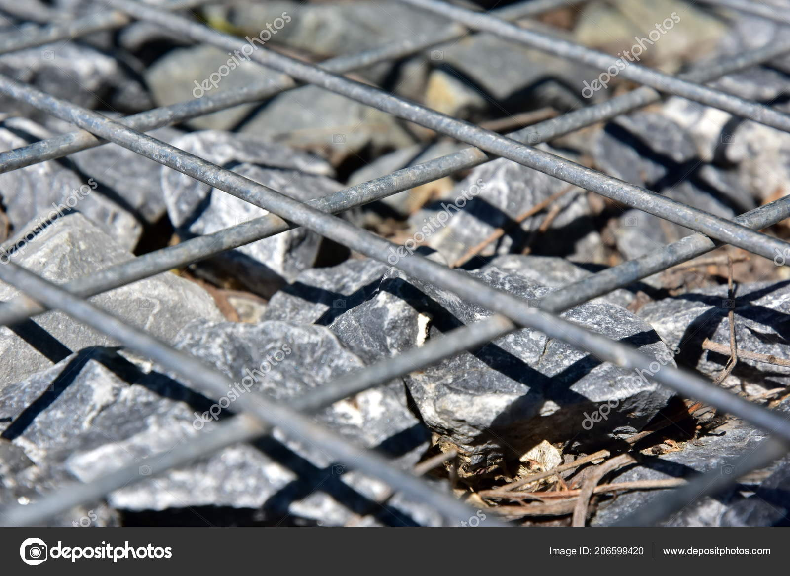 Gabion Rock Drahtzaun Metall Kafig Mit Steinen Gefullt Textur
