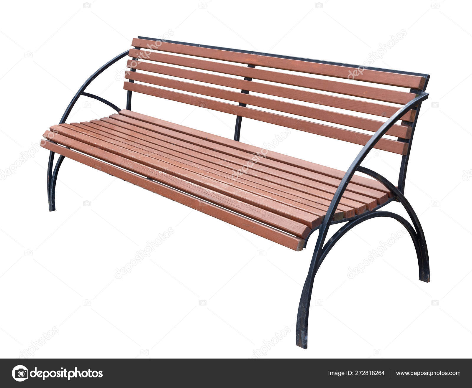 Picture of: Simple Bench Of Metal Parts And Wooden Bars Painted With Brown Paint Stock Photo C Busurmanov 272818264