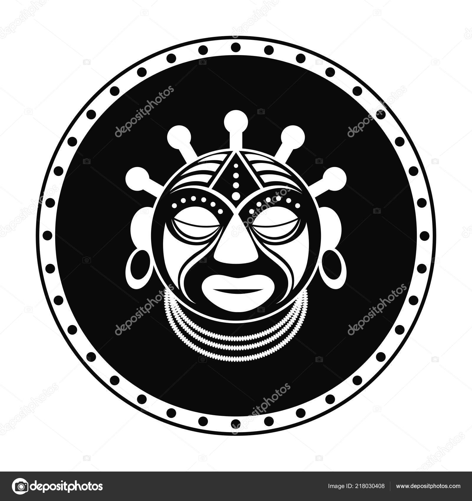 African black and white print symbol icon tribal mask design abstract art