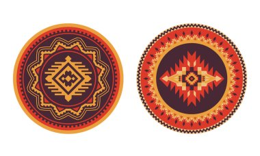 Southwest American, Aztec, Navajo round rug. Ethnic decorative e