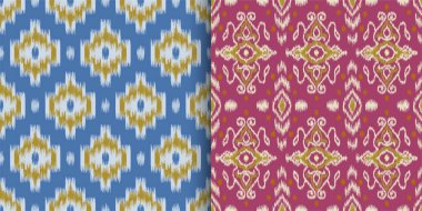 Set of seamless patterns with embroidery. Ethnic Ikat style desi