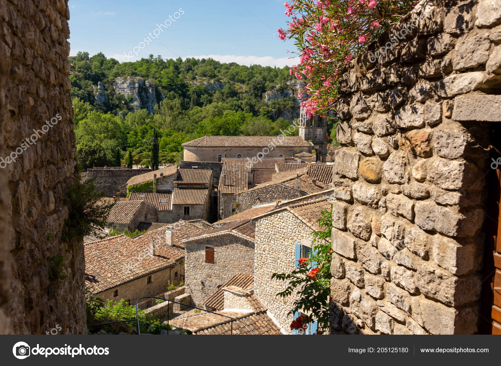 Beautiful View Houses Roofs Old Medieval French Village Labeaume Ardeche U2014  Fotografia De Stock
