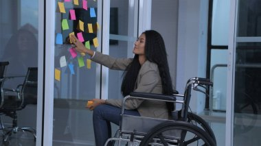Business concepts. The disabled girl is writing an attitude to c