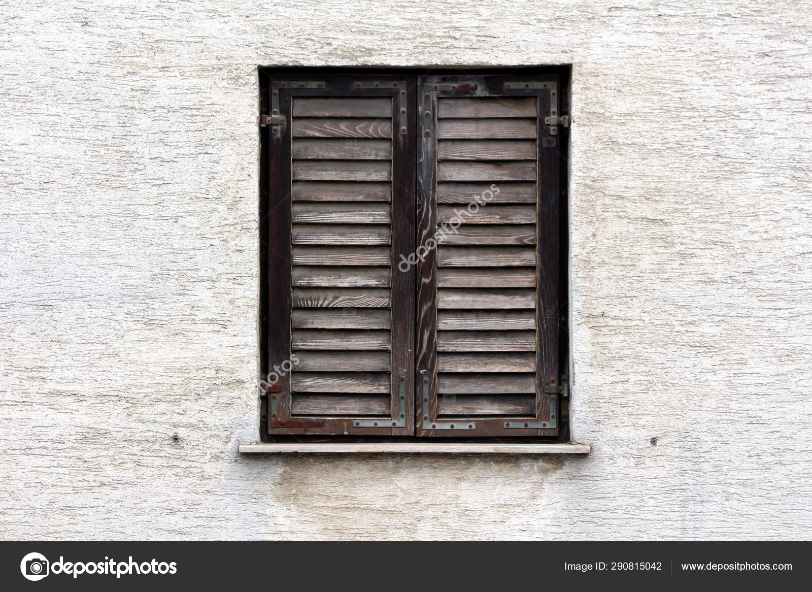 Closed Dilapidated Wooden Window Blinds Faded Color Rusted Metal Hinges Stock Photo C Hecos 290815042