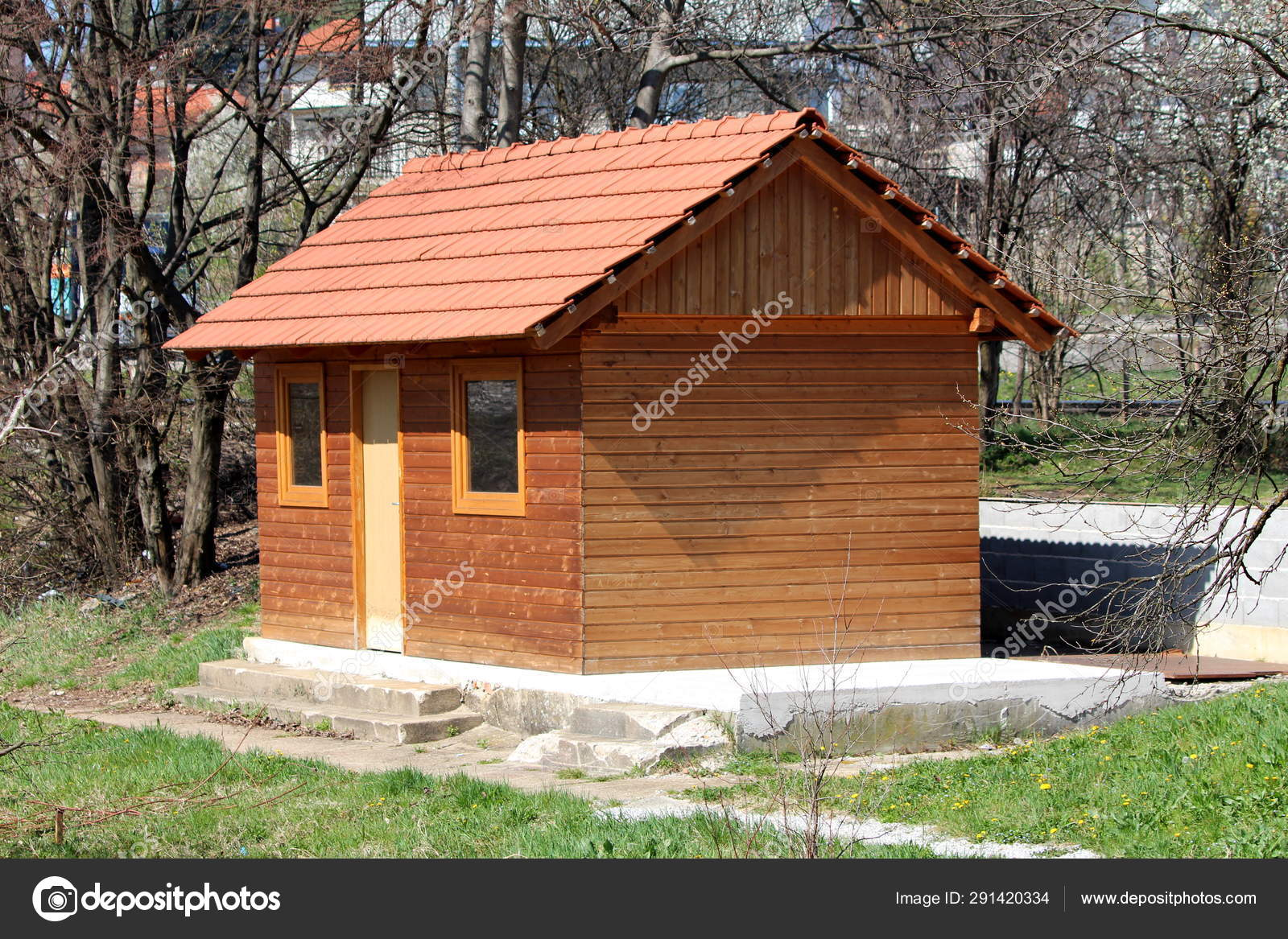 New Small Wooden House Single Entrance Door Two Windows Mounted Stock Photo C Hecos 291420334