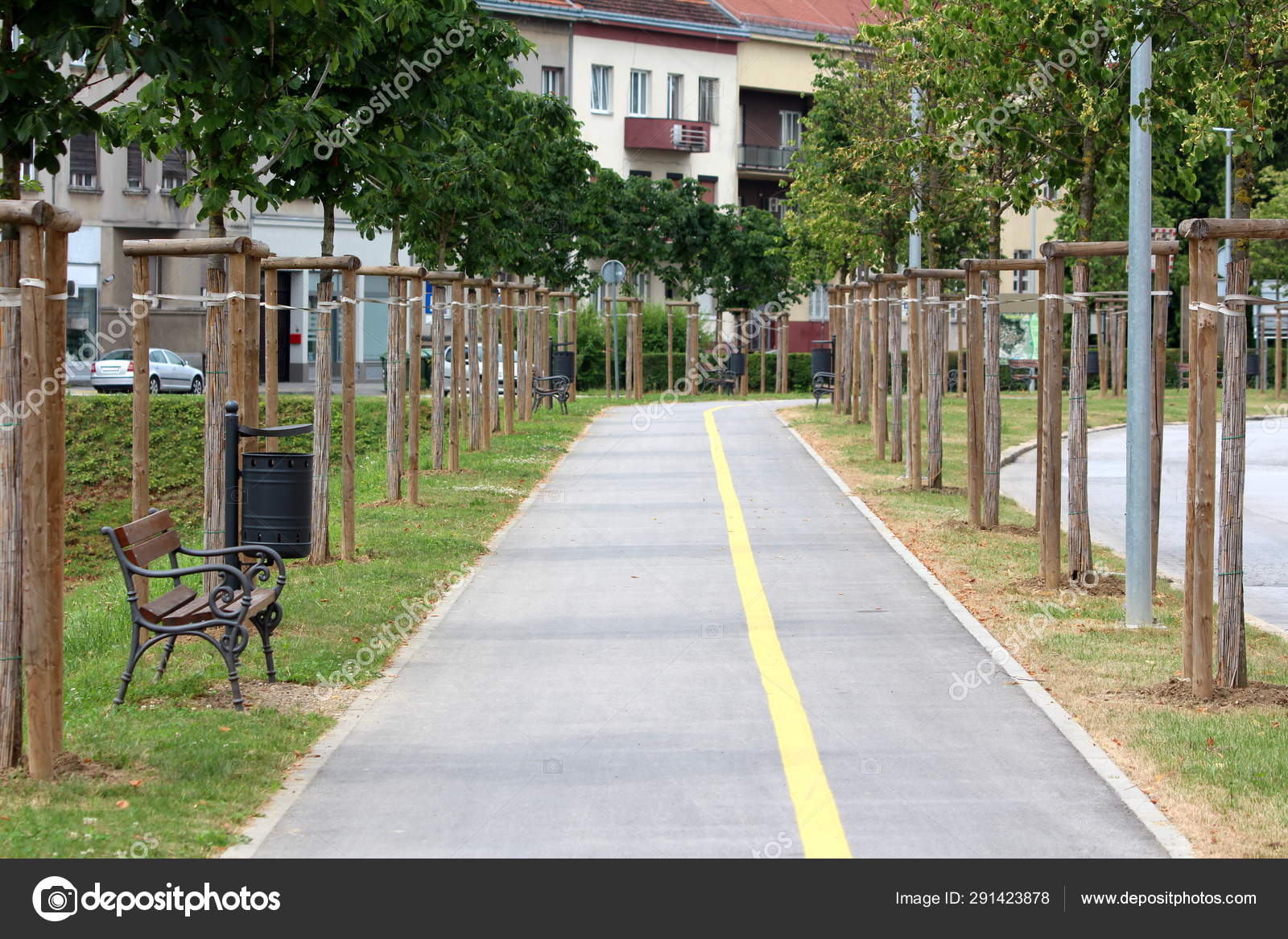 Fantastic Paved Sidewalk Bicycle Track Surrounded Wooden Park Benches Bralicious Painted Fabric Chair Ideas Braliciousco