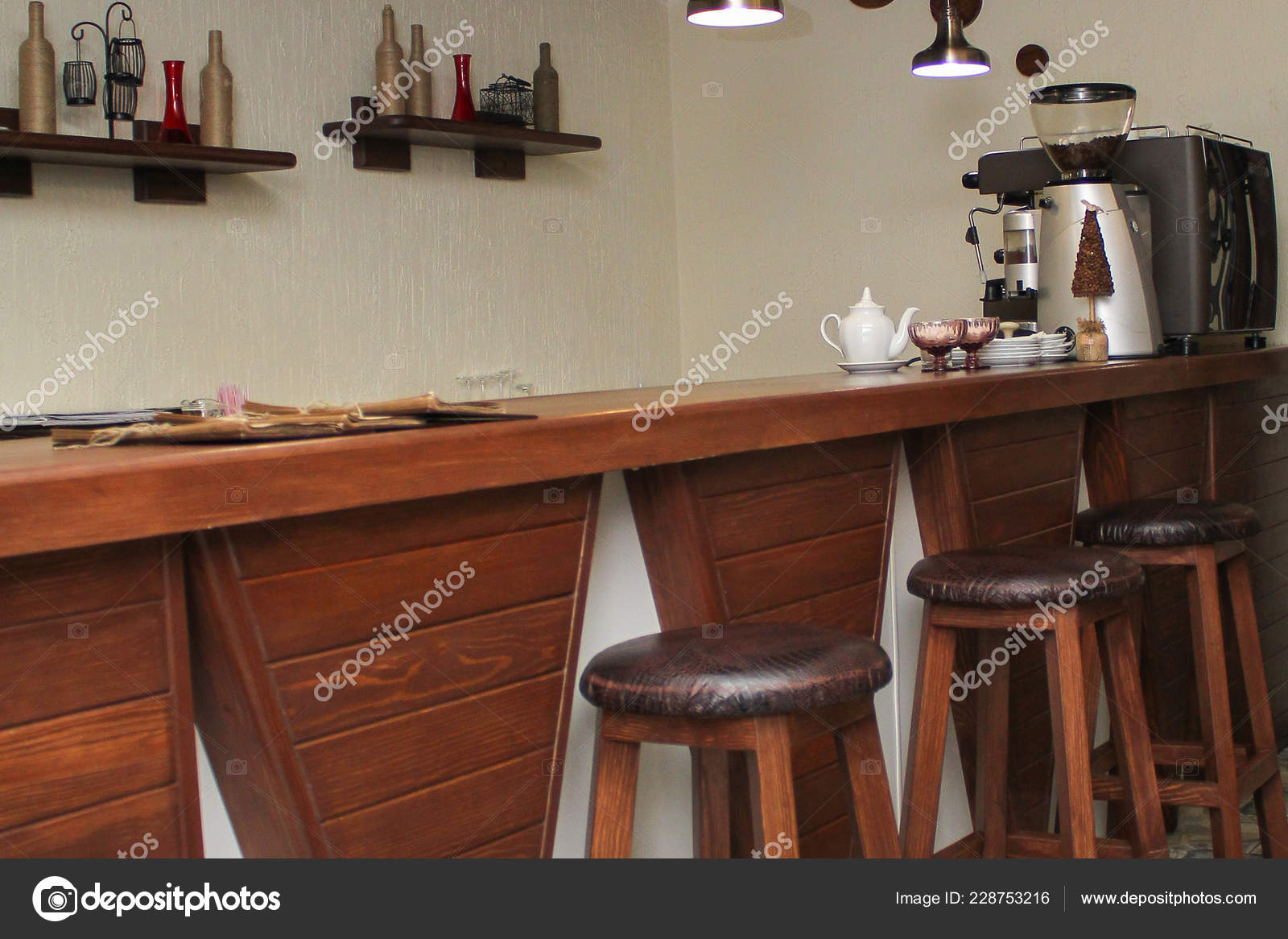 Cafe Interior Design Bar Wooden Chairs Decor Wall Stock Photo C Alisamorus 228753216
