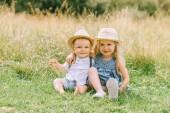 rozkošný šťastné blond děti, které sedí v poli