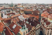 Letecký pohled na krásné staré město Panorama, Praha, Česká republika