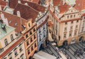 Praha, Česká republika - 23 července 2018: letecký pohled lidí na slavné staré town square, prague, Česká republika