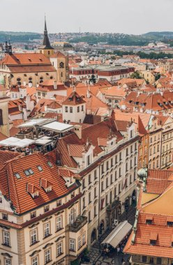 PRAGUE, CZECH REPUBLIC - JULY 23, 2018: red roofs and beautiful architecture in old town, prague, czech republic