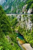 Fotografia ponte tra montagne sopra bellissimo fiume Piva Piva Canyon in Montenegro