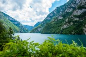 Fotografie beautiful landscape of Piva Lake (Pivsko Jezero) in Montenegro