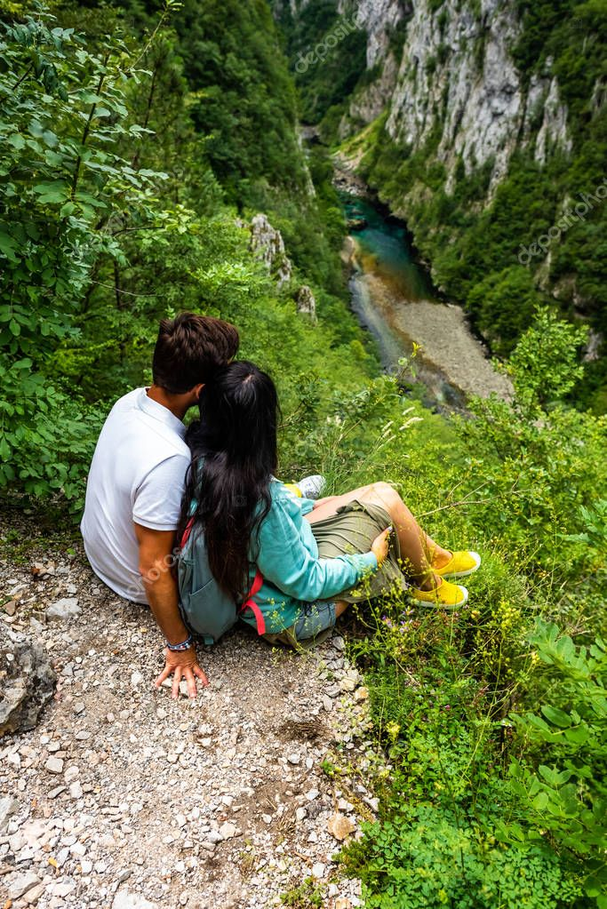 high angle view of couple looking at Piva River in Piva Canyon, Montenegro